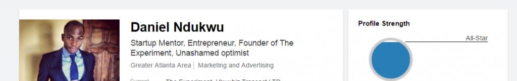 Daniel Ndukwu LinkedIn profile