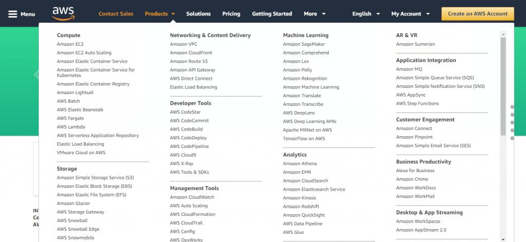 AWS menu