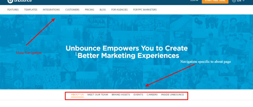 Unbounce navigation example