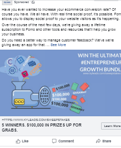 Image of facebook ad for giveaway.
