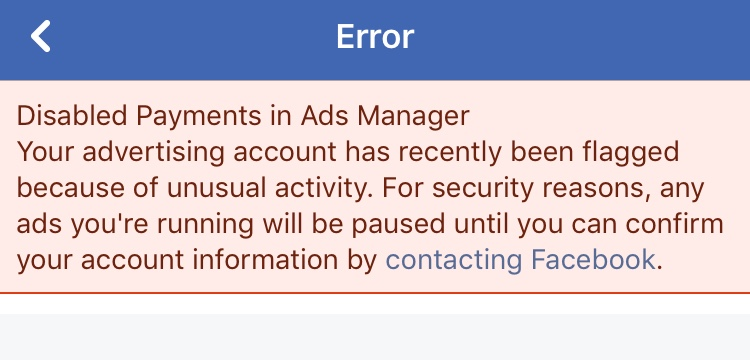 Image of Facebook error