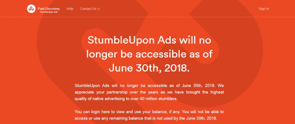 image of stumbleupon ads home screen