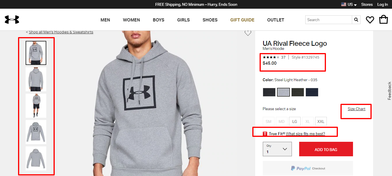 underarmor example product page