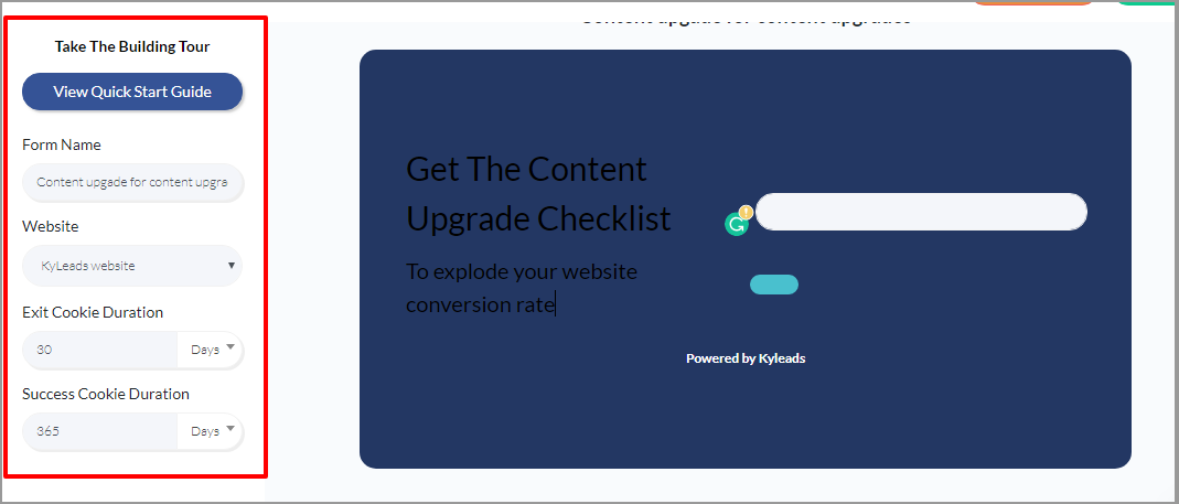 image of creating a content upgrade in KyLeads step 4