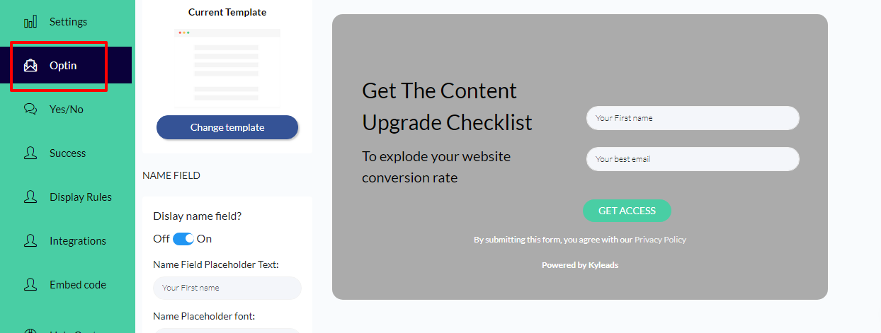 image of creating a content upgrade in KyLeads step 5