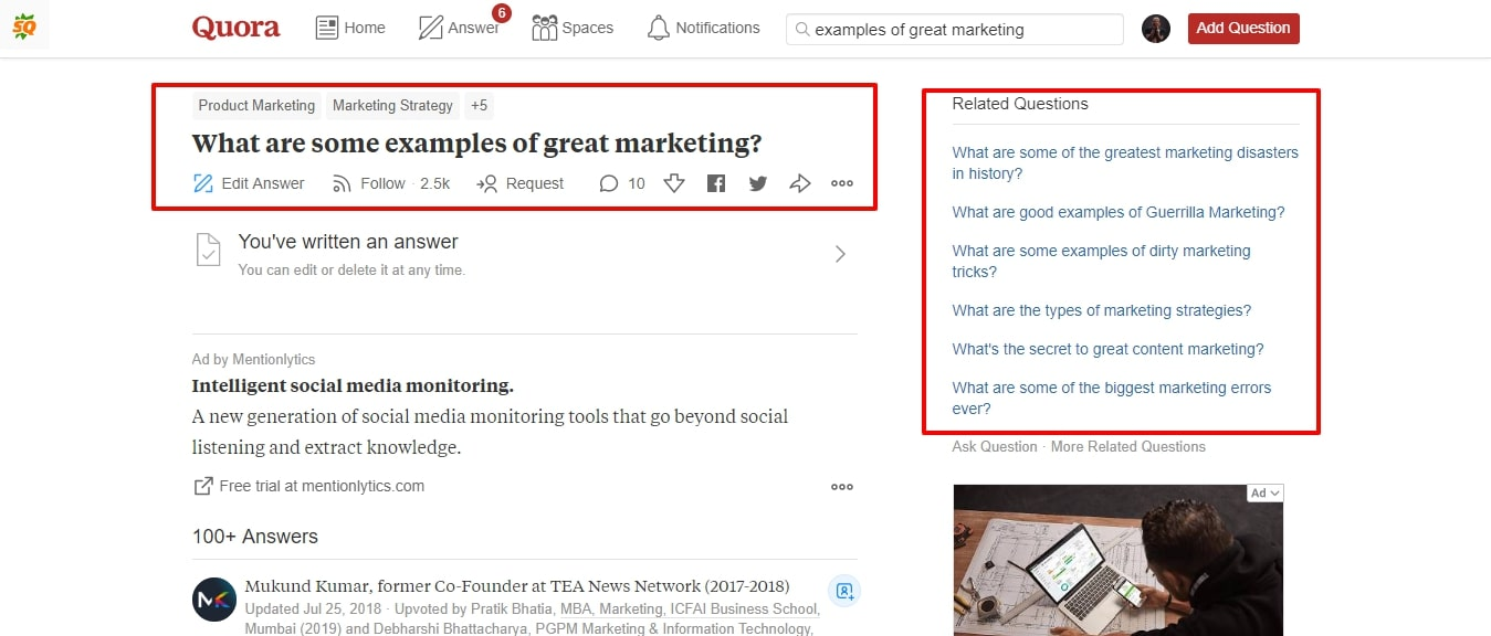 quora answer get readers