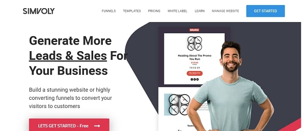 Simvoly landing page and funnel builder